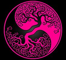 Pink and Black Tree of Life Yin Yang by Jeff Bartels