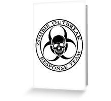 Zombie Outbreak Response Team w/ skull - light Greeting Card