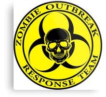 Zombie Outbreak Response Team w/ skull - yellow Metal Print