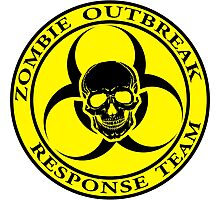 Zombie Outbreak Response Team w/ skull - yellow Photographic Print