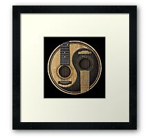 Old and Worn Acoustic Guitars Yin Yang Framed Print