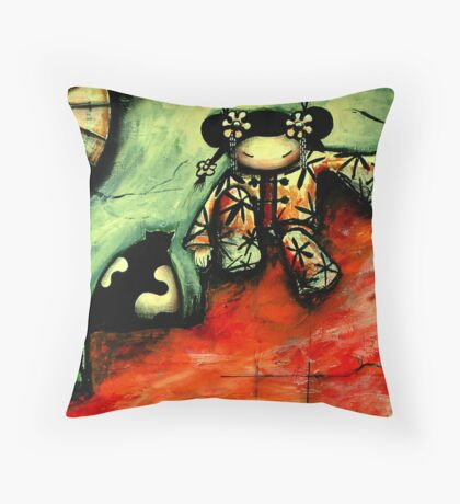 Girl on Red Wall Throw Pillow