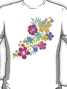 Tropical Watercolor Flowers  T-Shirt