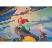 Disney The Little Mermaid Princess Ariel Friends Flounder  Photographic Print