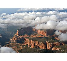 Kolob section of Zions Park with clouds Photographic Print