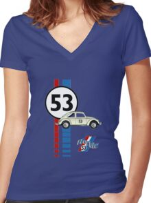 53 VW bug beetle bug Women's Fitted V-Neck T-Shirt