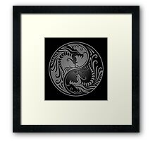 Yin Yang Dragons Gray and Black Framed Print