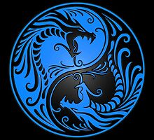 Yin Yang Dragons Blue and Black by Jeff Bartels