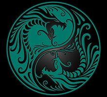 Yin Yang Dragons Teal Blue and Black by Jeff Bartels