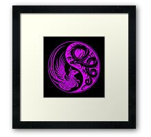 Purple and Black Dragon Phoenix Yin Yang Framed Print