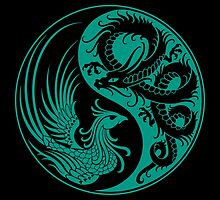 Teal Blue and Black Dragon Phoenix Yin Yang by Jeff Bartels