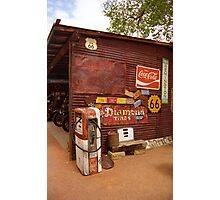 Route 66 Garage and Pump Photographic Print