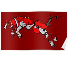 Red Voltron Lion Cubist Poster