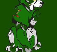 Green Voltron Lion Cubist by PartyMoth59