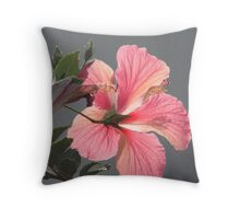 Pink Hibicus Glow Throw Pillow