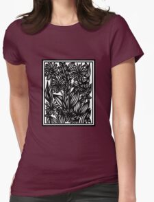 Labyrinth Flowers Black and White Womens Fitted T-Shirt
