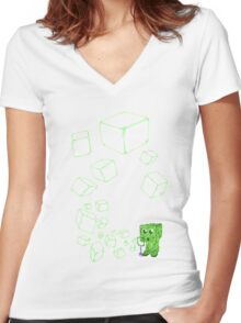 Creeper bubbles Women's Fitted V-Neck T-Shirt