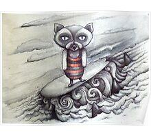 surfing grumpy cat art Poster