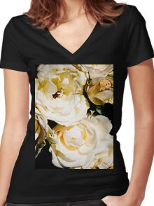 Beautiful White Roses Women's Fitted V-Neck T-Shirt
