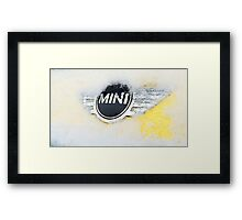 Mini Cooper with snow Framed Print