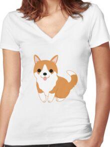 cute corgi pup Women's Fitted V-Neck T-Shirt