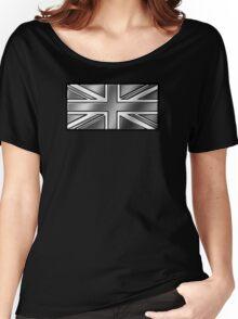 British Union Jack Flag 2 - UK - Metallic - Steel Women's Relaxed Fit T-Shirt
