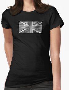 British Union Jack Flag 2 - UK - Metallic - Steel Womens Fitted T-Shirt
