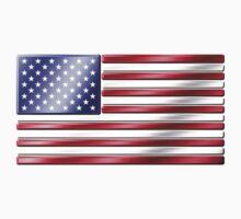 American Flag 2 - USA - Metallic One Piece - Short Sleeve