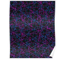 Abstract Geometric 3D Triangle Pattern in Blue / Pink - mini Poster