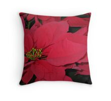 Red Pointsetta Throw Pillow