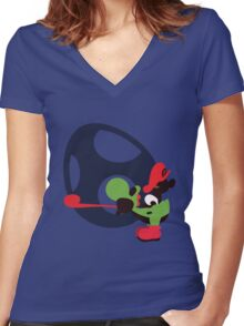 Yoshi & Baby Mario - Sunset Shores Women's Fitted V-Neck T-Shirt