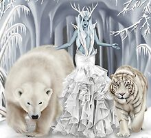 Ice Faerie with Polar Bear & White Tiger by Alison Spokes