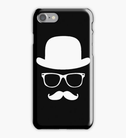 Moustache with hat and glasses iPhone Case/Skin