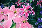 Winter's Garden Wonder - Pointsetta and Stargazer Lillies by Mary Campbell