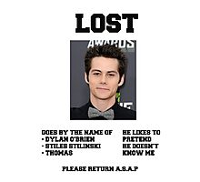LOST POSTER - DYLAN O'BRIEN Photographic Print