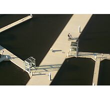 Two Cyclists, Docklands Photographic Print