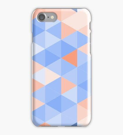 Blue-brown triangles pattern iPhone Case/Skin