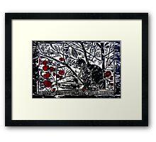 Poppy on the Deck-Woodcut Framed Print
