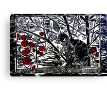 Poppy on the Deck-Woodcut Canvas Print
