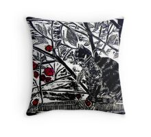 Poppy on the Deck-Woodcut Throw Pillow