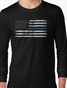 Blue Line (White) Long Sleeve T-Shirt