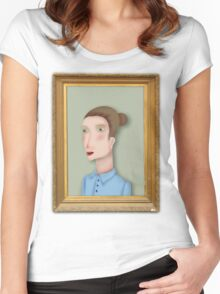 Woman portrait by RADIOBOY Women's Fitted Scoop T-Shirt