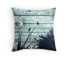 Crows on Blue Wood Throw Pillow