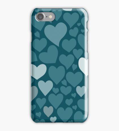 Blue hearts pattern iPhone Case/Skin