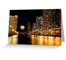 Chicago River Moon Greeting Card