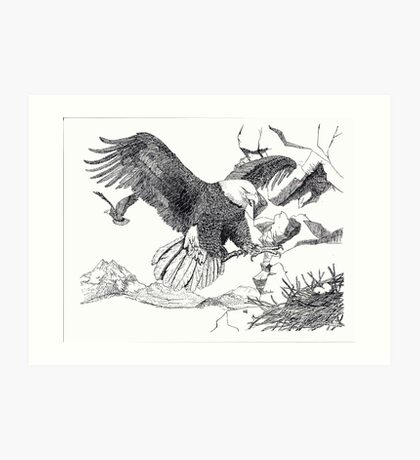 Bald Eagle - Changing of the Guard - Pen & Ink Art Print