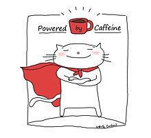 Powered by caffeine / Cat doodle Photographic Print