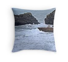 Harbour Entrance at Portreath Throw Pillow
