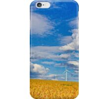 Painting with light: Farmland and wind turbines iPhone Case/Skin