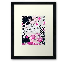 Jiri - Abstract painting in modern fresh colors navy, blush, cream, white, and gold decor girly Framed Print